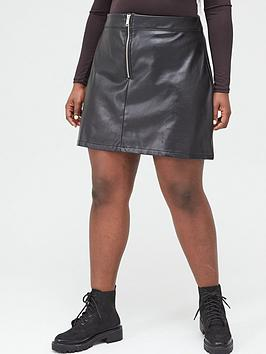 V by Very Curve V By Very Curve Zip Front Pu Skirt - Black Picture