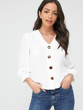 Warehouse Warehouse Button Front Top - Ivory Picture