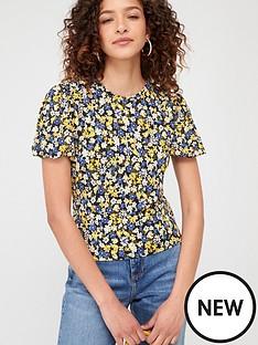 warehouse-eden-floral-top-yellow