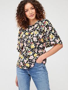 warehouse-riviera-floral-angel-sleeve-top-black