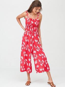 pour-moi-shirred-crop-leg-jumpsuit-redpink