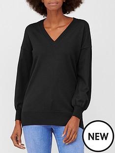 v-by-very-v-neck-longline-jumper-black
