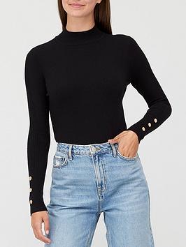 v-by-very-valuenbspturtle-neck-button-sleeve-detail-jumper-black