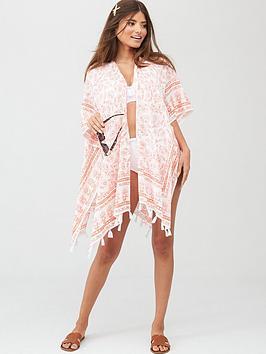 Pour Moi Pour Moi Bohemian Scarf Print Kimono - White/Coral Picture