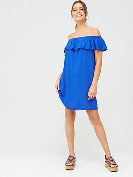 Pour Moi Pour Moi Textured Bardot Beach Dress - Blue Picture