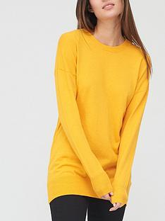 v-by-very-crew-neck-longline-jumper-mustard