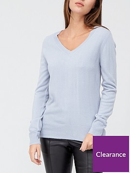 v-by-very-valuenbspsuper-softnbspv-neck-deep-rib-hem-jumper-dusky-blue