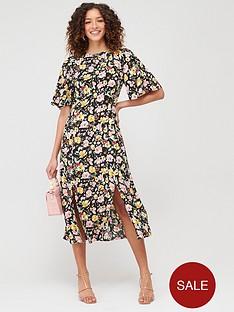 warehouse-riviera-floral-angel-sleeve-dress-black