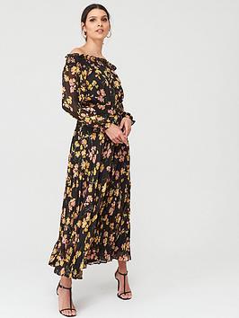 Warehouse Warehouse Petal Print Puff Sleeve Bardot Midi Dress - Black Picture