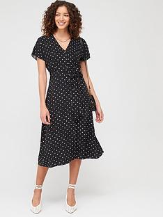 warehouse-spot-button-through-dress-black