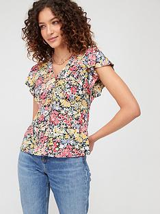 warehouse-sophia-floral-button-through-top-multi