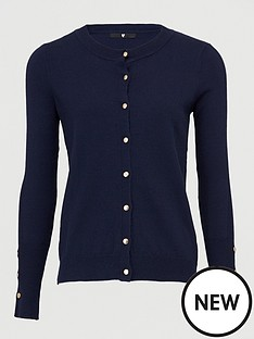 v-by-very-button-sleeve-detail-cardigan-navy
