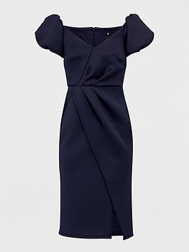 V by Very V By Very Bardot Scuba Wrap Front Midi Dress - Navy Picture