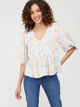 Warehouse Warehouse Ornate Vines Button Front Tiered Top - Multi Picture