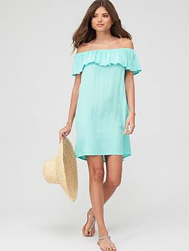 Pour Moi Pour Moi Textured Print Bardot Beach Dress - Mint Picture