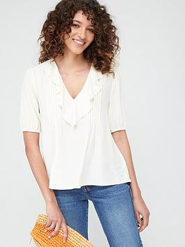 Warehouse Warehouse Ruffle Pintuck Top - Ivory Picture