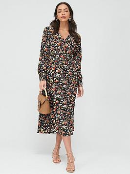 Warehouse Warehouse Livia Floral Midi Belted Dress - Multi Picture