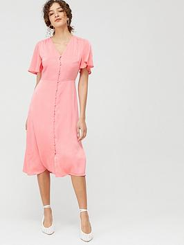 Warehouse Warehouse Satin Button Front Midi Dress - Coral Picture