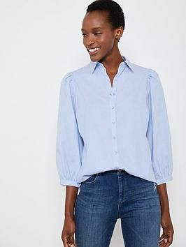 Mint Velvet Mint Velvet Chambray Puff Sleeve Shirt - Blue Picture