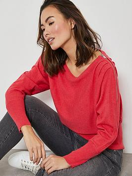 Mint Velvet Mint Velvet Zip Detail Batwing Knit Jumper - Watermelon Picture