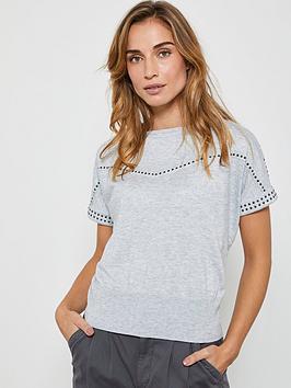 Mint Velvet Mint Velvet Studded Short Sleeve Jumper - Light Grey Picture