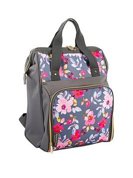 summerhouse-by-navigate-gardenia-2-person-filled-insulated-backpack-grey-floral