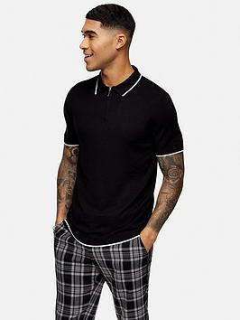 topman-tipped-zip-polo-top-black