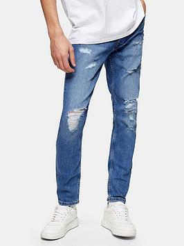 Topman Topman Rip And Repair Skinny Jeans - Blue Picture
