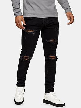 Topman Topman Ripped Skinny Fit Jeans - Black Picture
