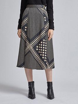 Dorothy Perkins Dorothy Perkins Stripe Spot Midi Skirt - Black Picture