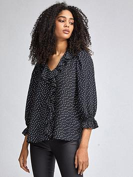 Dorothy Perkins Dorothy Perkins Spot Ruffle Shirt - Black Picture