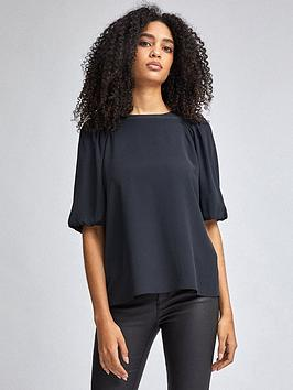 Dorothy Perkins Dorothy Perkins Puff Sleeve Top - Black Picture