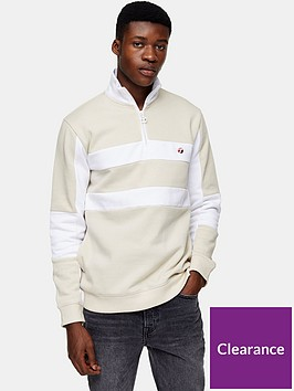 topman-panel-14-zip-sweatshirt-beigenbsp