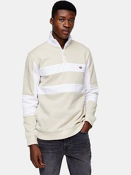Topman Topman Panel 1/4 Zip Sweatshirt - Beige Picture