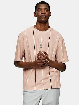 Topman Topman Vertical Stripe Boxy T-Shirt - Pink Picture