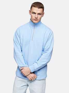 Topman Topman 1/4 Zip Sweatshirt - Blue Picture