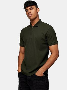 Topman Topman Zip Pique Polo Shirt - Khaki Picture
