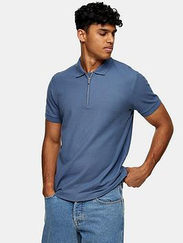 Topman Topman Zip Pique Polo Shirt - Blue Picture
