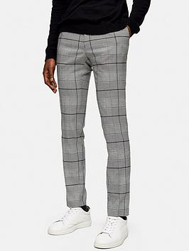 Topman Topman Large Check Trousers - Grey Picture