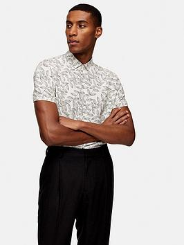 Topman Topman Short Sleeve Dot Leaf Shirt - Off White Picture