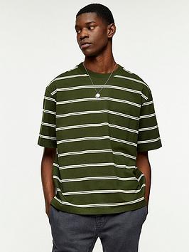 Topman Topman Striped Boxy Fit T-Shirt - Khaki Picture