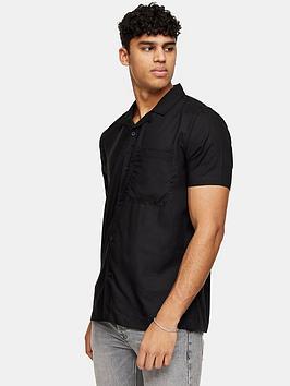 Topman Topman Eco Revere Collar Shirt - Black Picture
