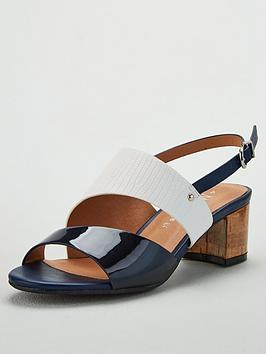 Wallis Wallis Wide Fit Asymmetric Detail Block Heel Sandals - Navy Picture