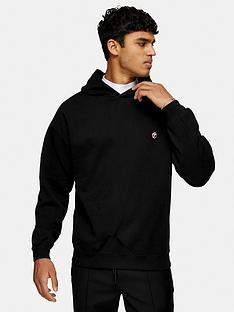 topman-small-logo-overhead-hoodienbsp--black