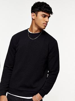 Topman Topman Ottoman Crew Sweatshirt - Black Picture