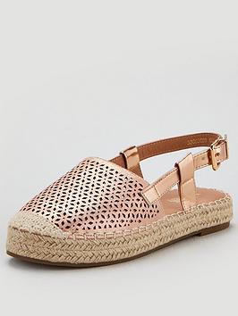 Wallis Thick Sole Cutwork Espadrille Slingback Sandals - Blush