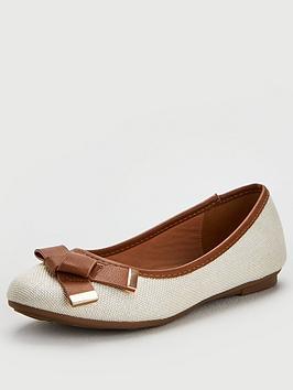 Wallis Wallis Folder Bow Front Ballerina Shoes - Natural Picture