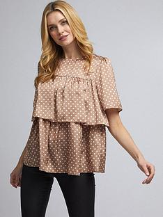 dorothy-perkins-spot-tiered-ruffle-satin-top-camelnbsp