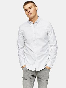 Topman Topman Oxford Pinstripe Shirt - White/Grey Picture