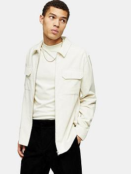 Topman Topman Cord Zip Overshirt - Ecru Picture